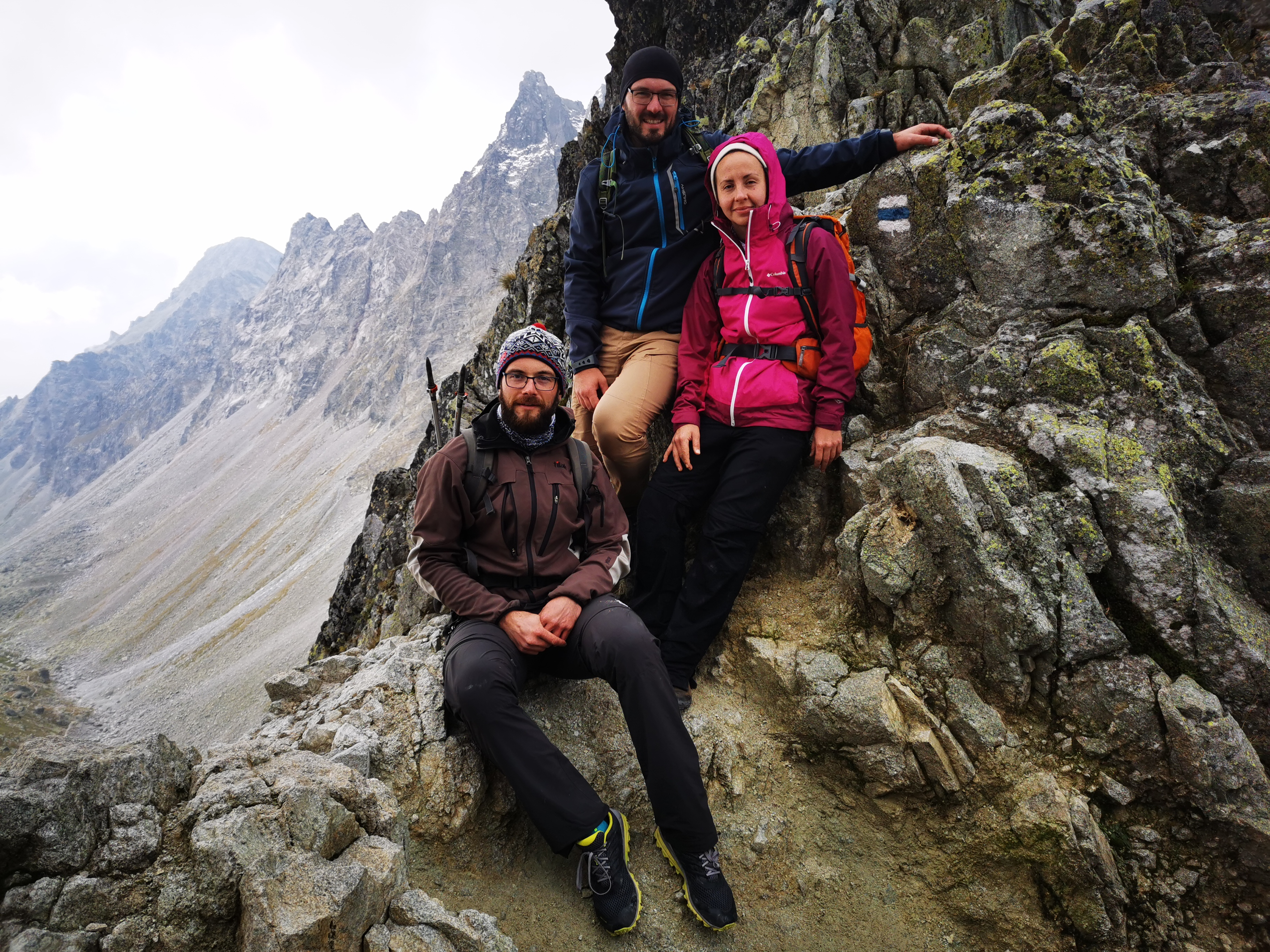 Andrej, Michal and Yuliya at the mountain pass Prielom (2290 m).