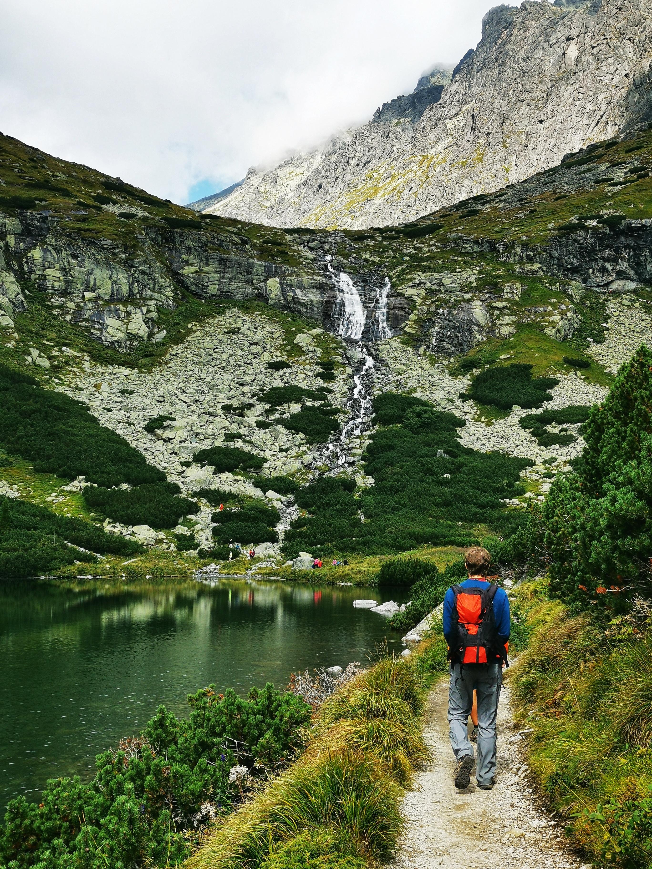 Walking past the Velické pleso mountain lake.