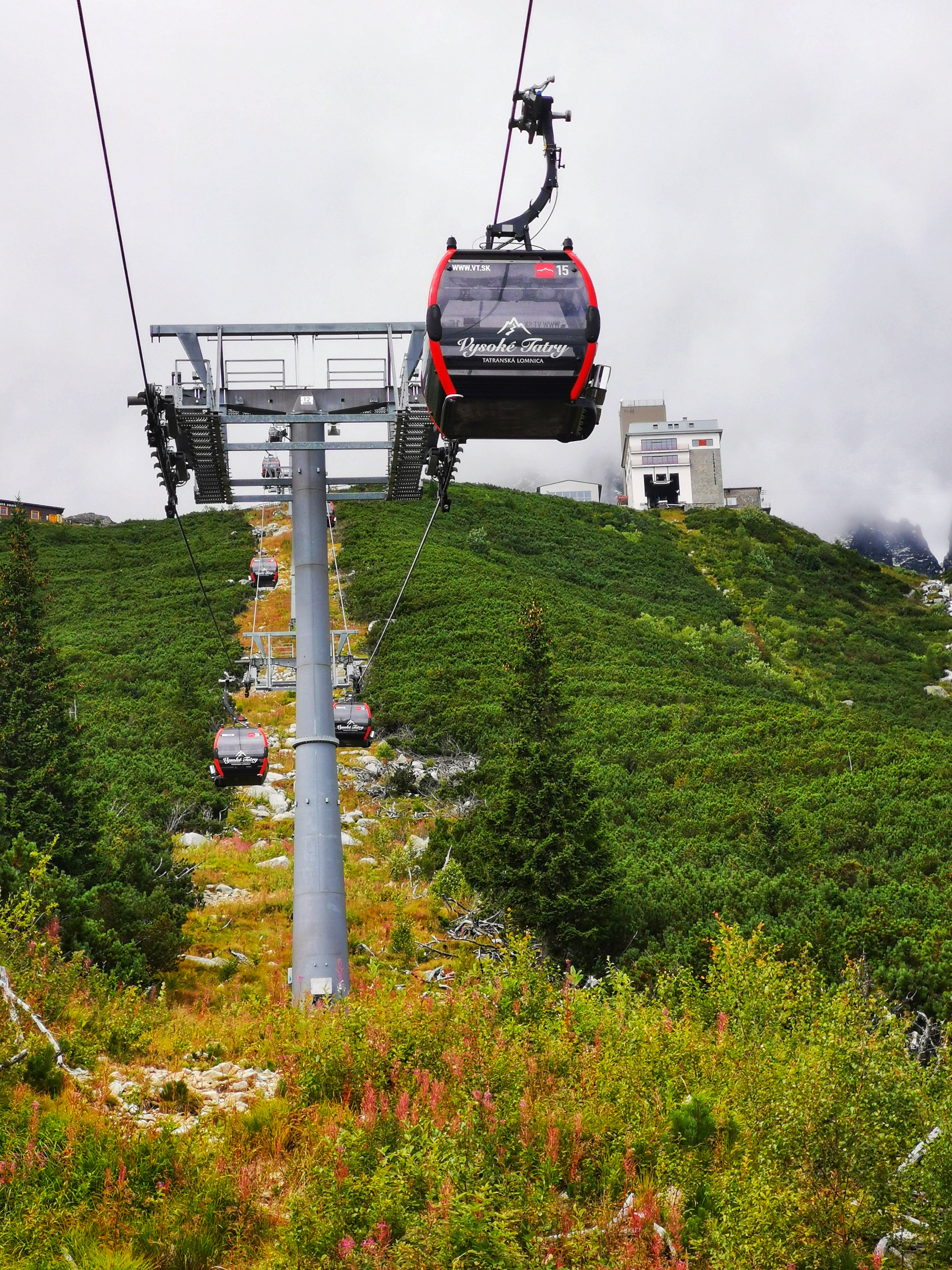 There is a cable car to Skalnaté pleso leaving from Tatranská Lomnica. However, we walked.